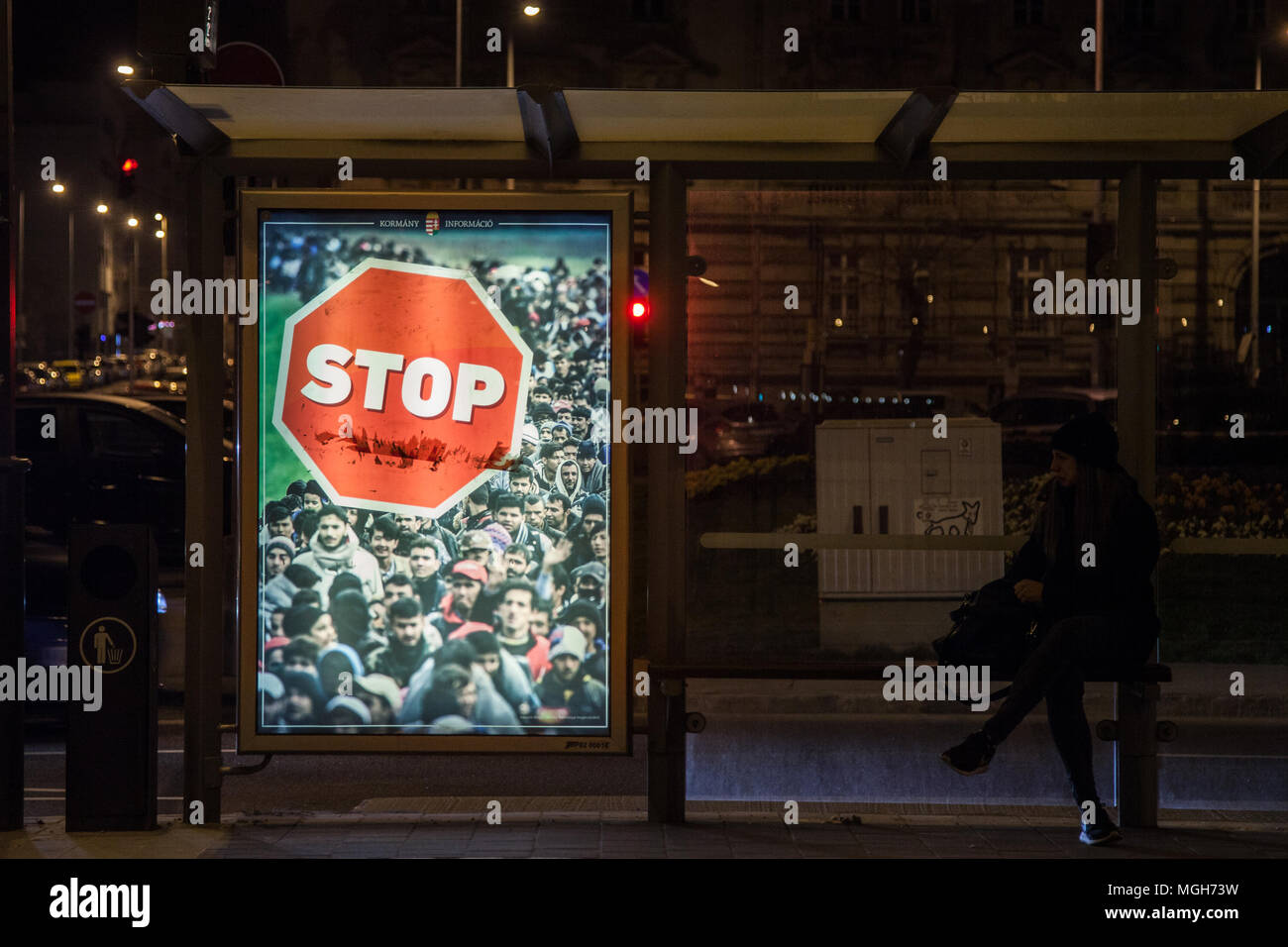 BUDAPEST, HUNGARY - APRIL 7, 2017: Anti Immigration poster from Viktor Orban government in the streets of Budapest during the 2018 general elections c - Stock Image