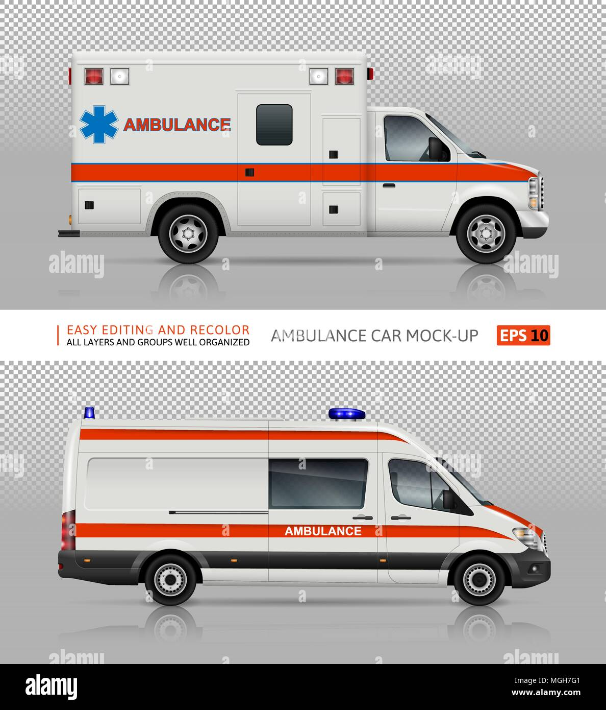 ambulance cars vector mock up for advertising corporate identity