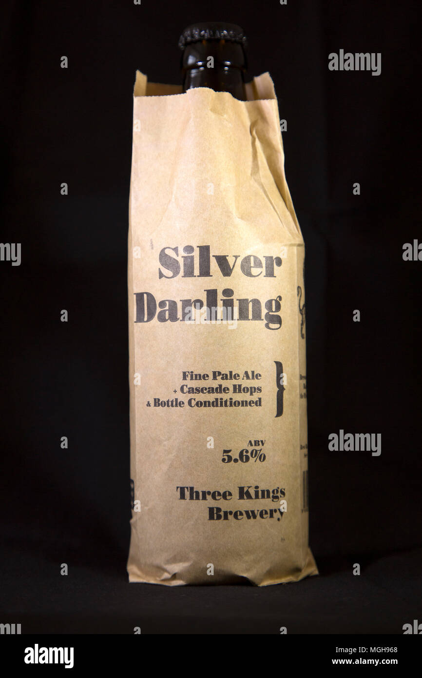 A botle of Silver Darling Fine Pale Ale. It is brewed by the Three Kings Brewery of North Shields, England. - Stock Image
