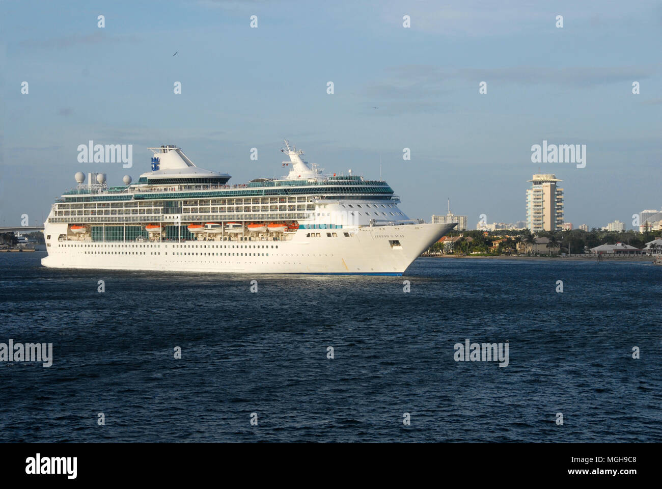 Cruise liner Legend of the Seas leaving Fort Lauderdale, Florida, USA - Stock Image