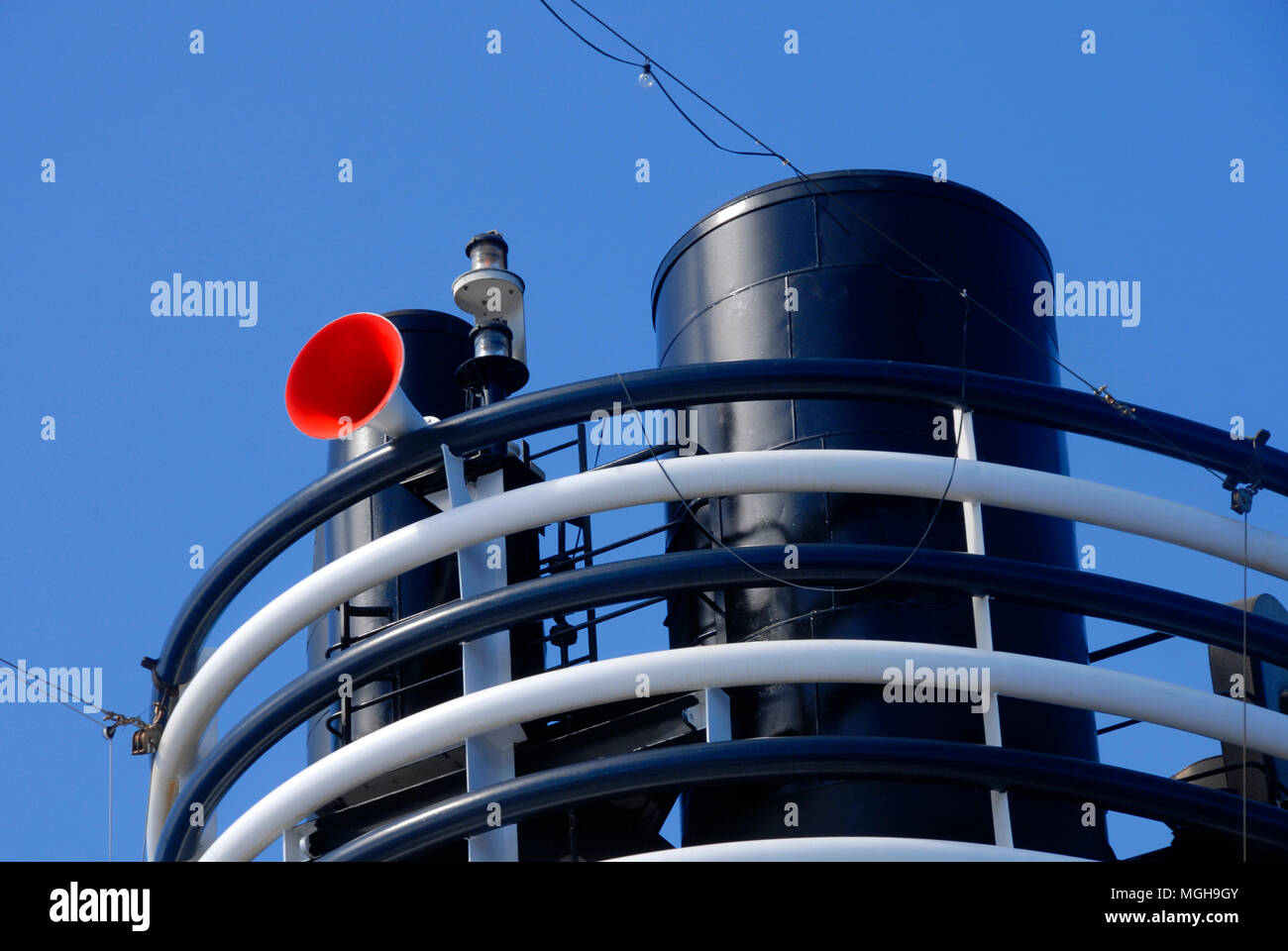 Ship's funnel and fog horn at sea - Stock Image