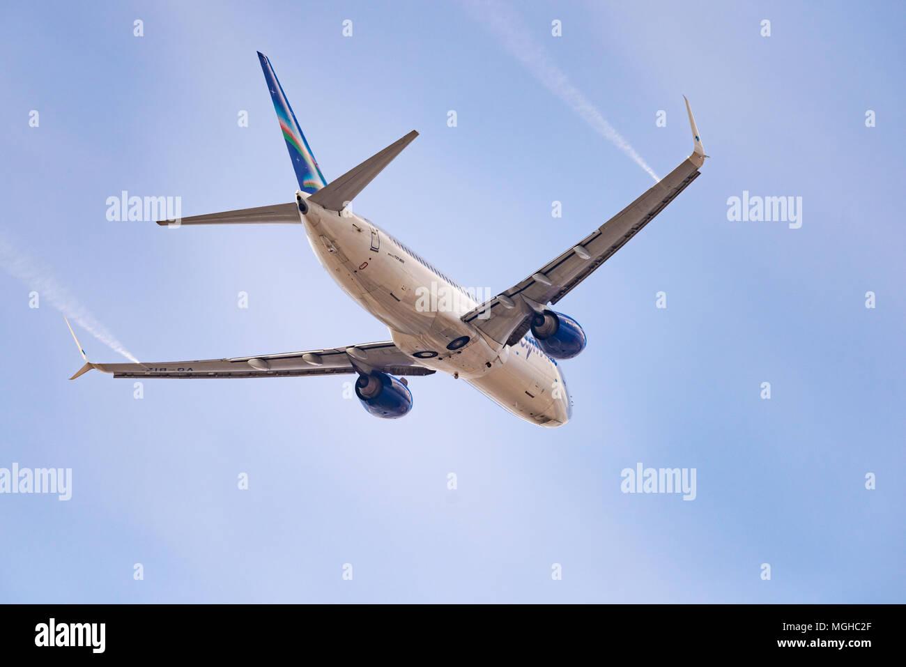 Novosibirsk, Russia - April 27, 2018: Boeing 737-86N VQ-BIZ Yakutia Airlines  after takeoff from Tolmachevo International Airport. Stock Photo