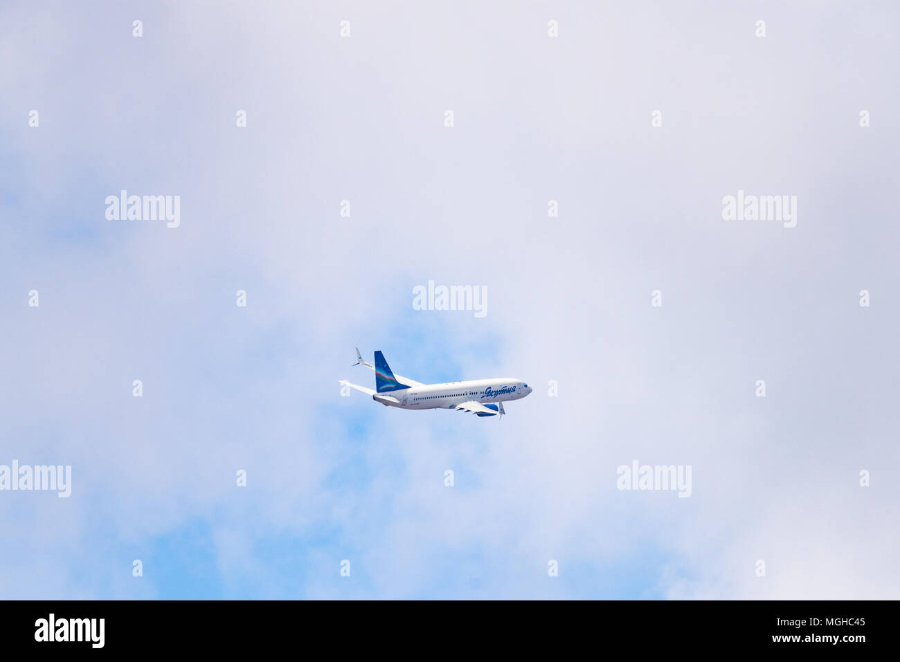 Novosibirsk, Russia - April 27, 2018: Boeing 737-86N VQ-BIZ Yakutia Airlines  after takeoff from Tolmachevo International Airport. - Stock Image