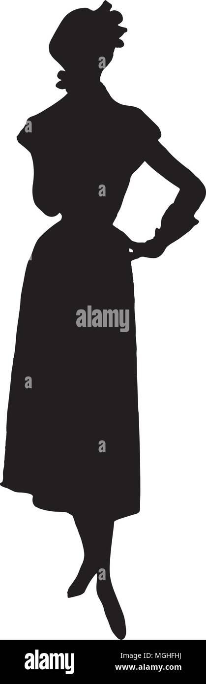 Silhouette 3 - Retro Clipart Illustration - Stock Vector
