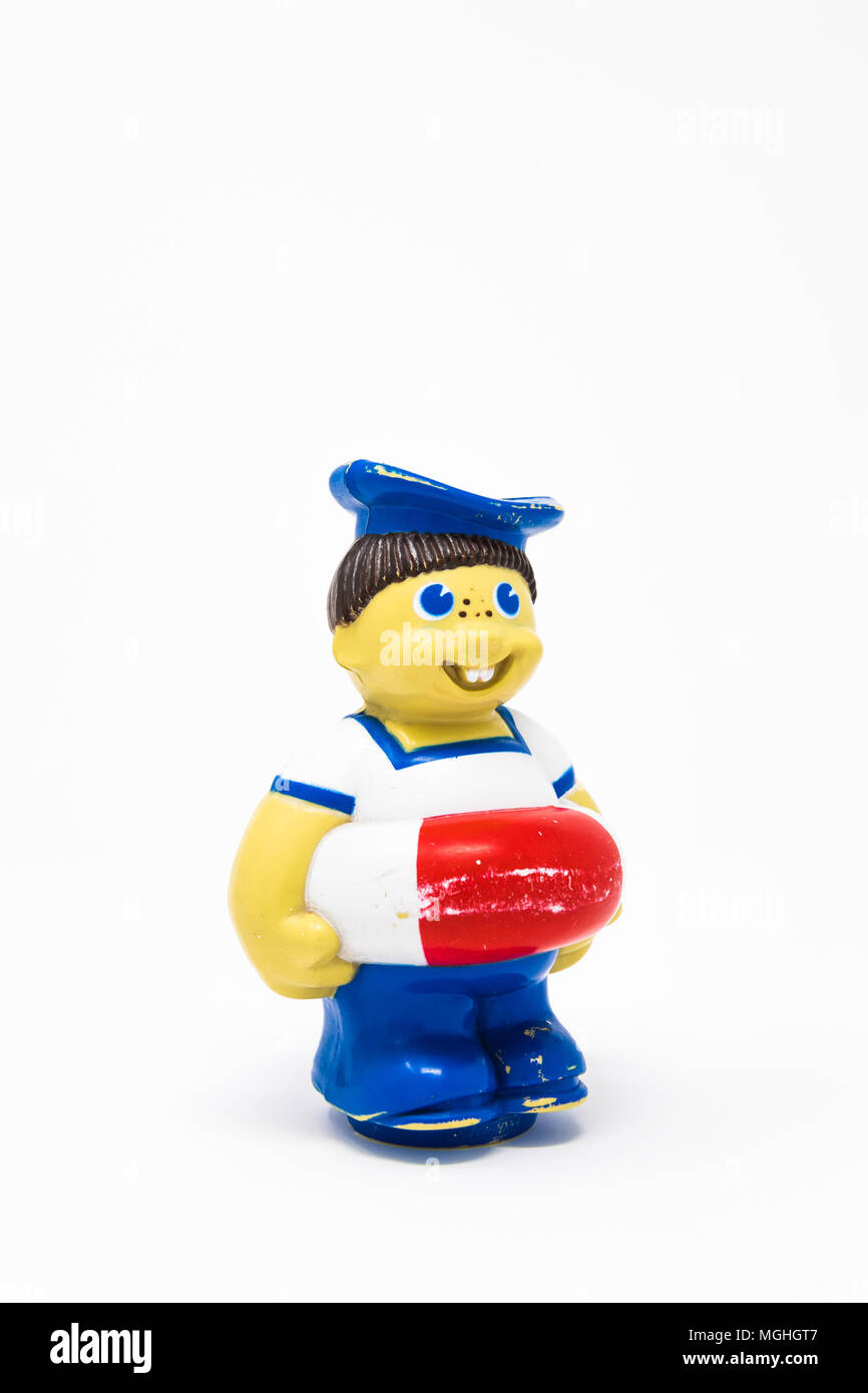Childs bath toy, a jolly sailer with lifebuoy. - Stock Image