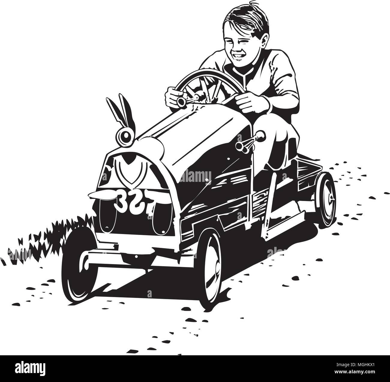 soapbox racer retro clipart illustration stock vector art