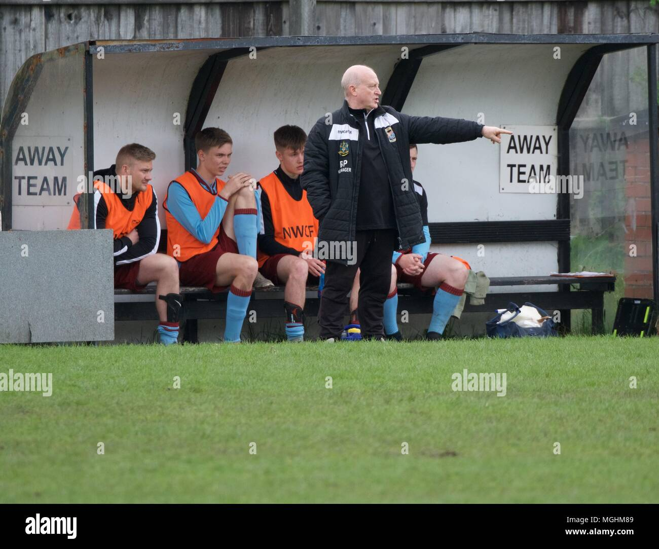 The Bacup Borough dug-out at the  away match against New Mills F C - Stock Image