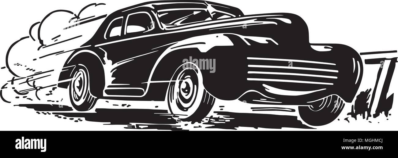 Speeding Car - Retro Clipart Illustration - Stock Vector