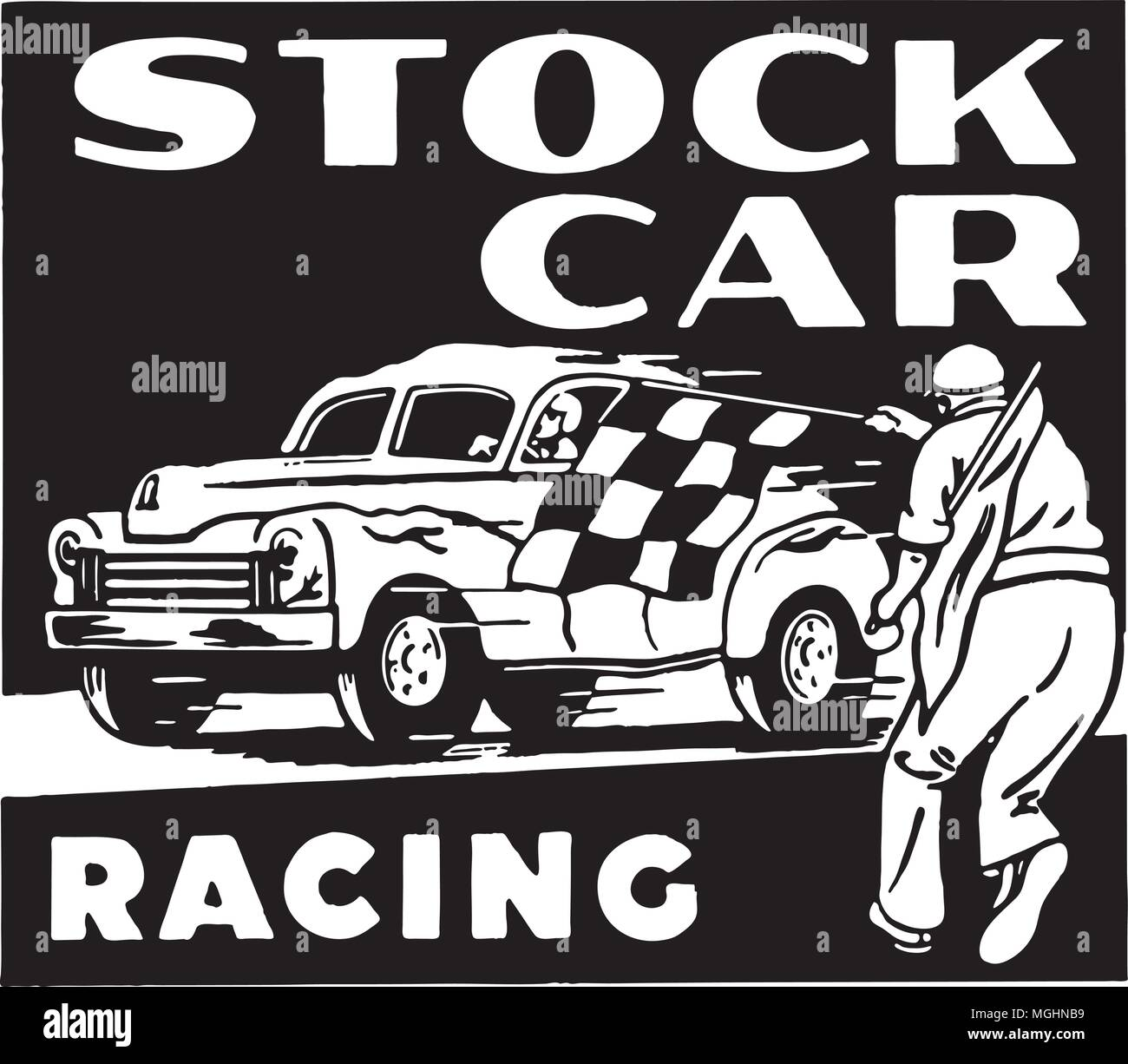 Stock Car Racing - Retro Ad Art Banner - Stock Vector