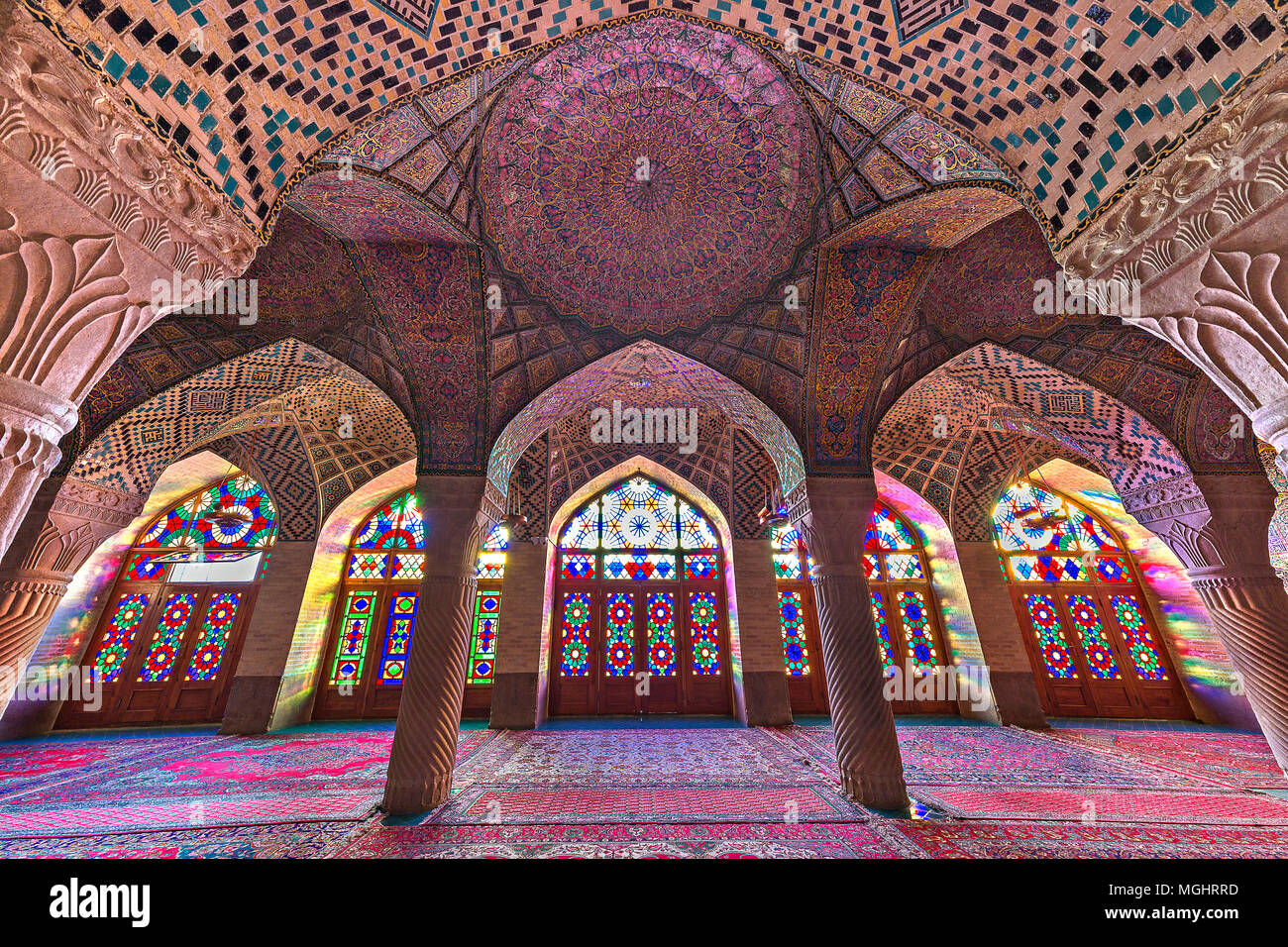 Nasir Ol Molk Mosque known also as Pink Mosque, in Shiraz, Iran - Stock Image