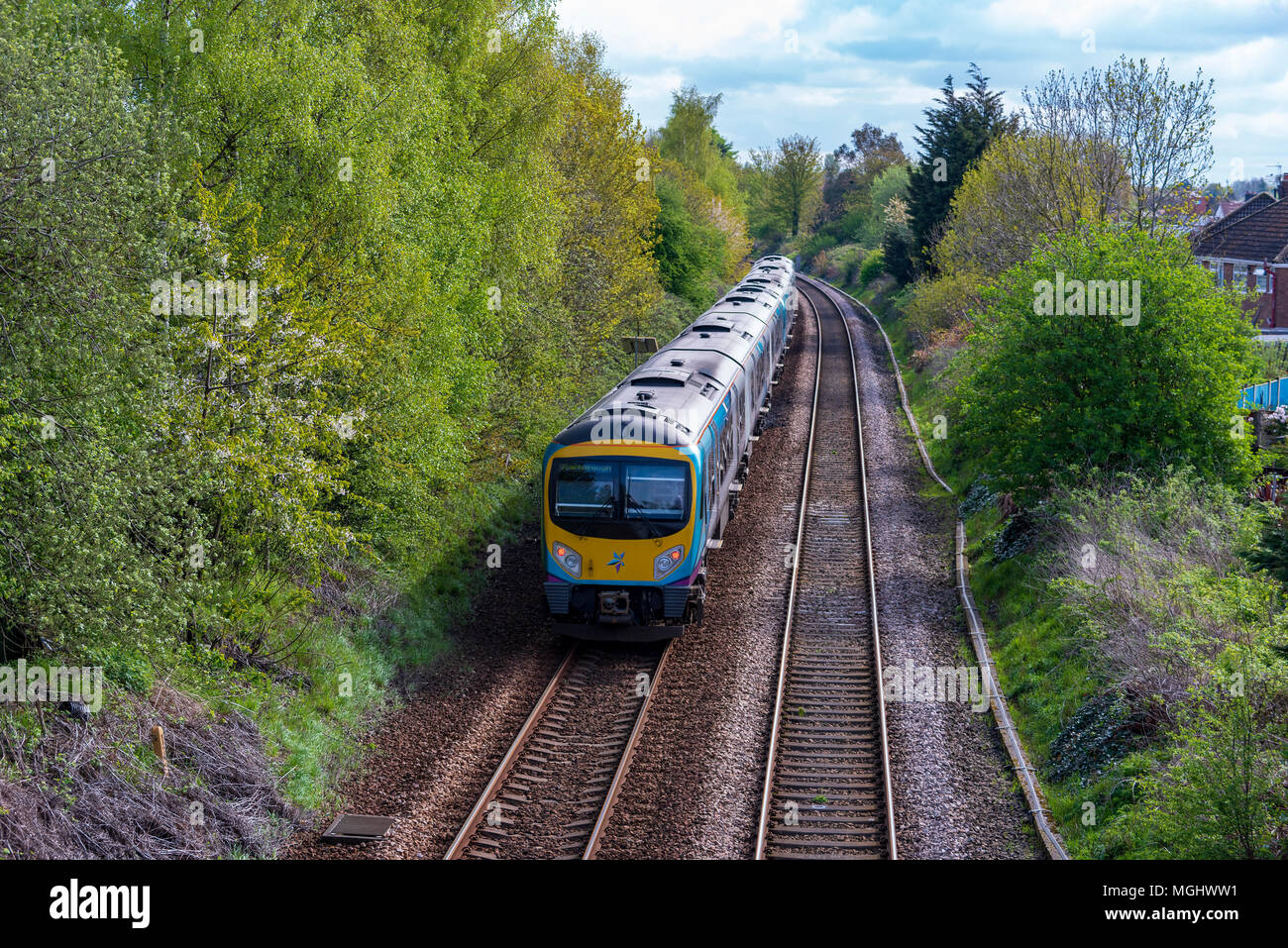 First Trans Pennine train. - Stock Image