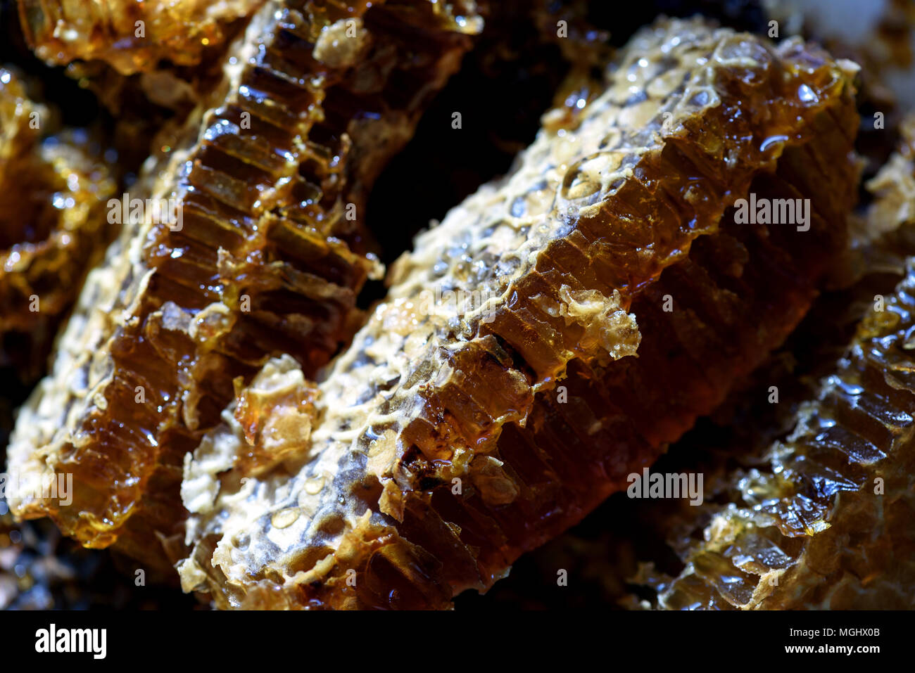 Closeup macro image of fresh organic natural honey oozing from a golden honeycomb Stock Photo