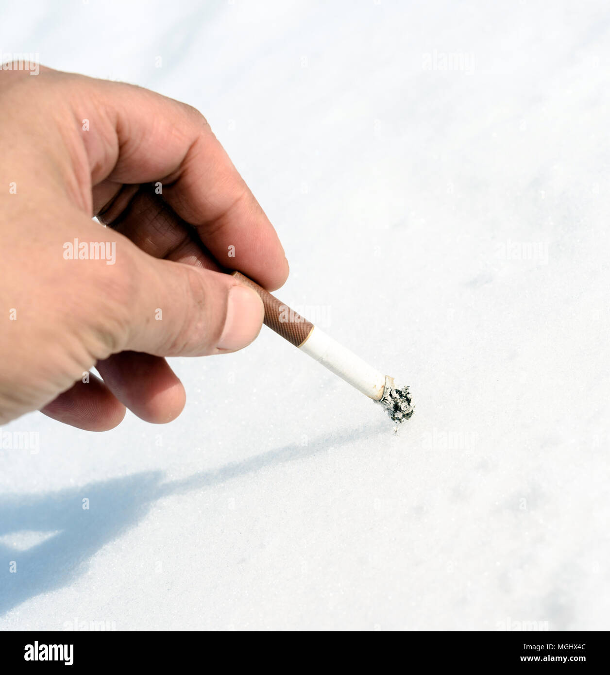Single male hand stubbing out a smoked cigarette butt into a snow background with copy space area for nicotine addiction and smoking related health de Stock Photo