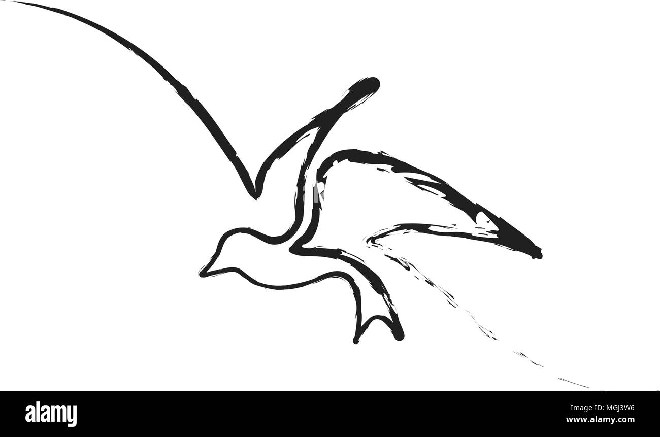 Continuous line bird - Stock Image