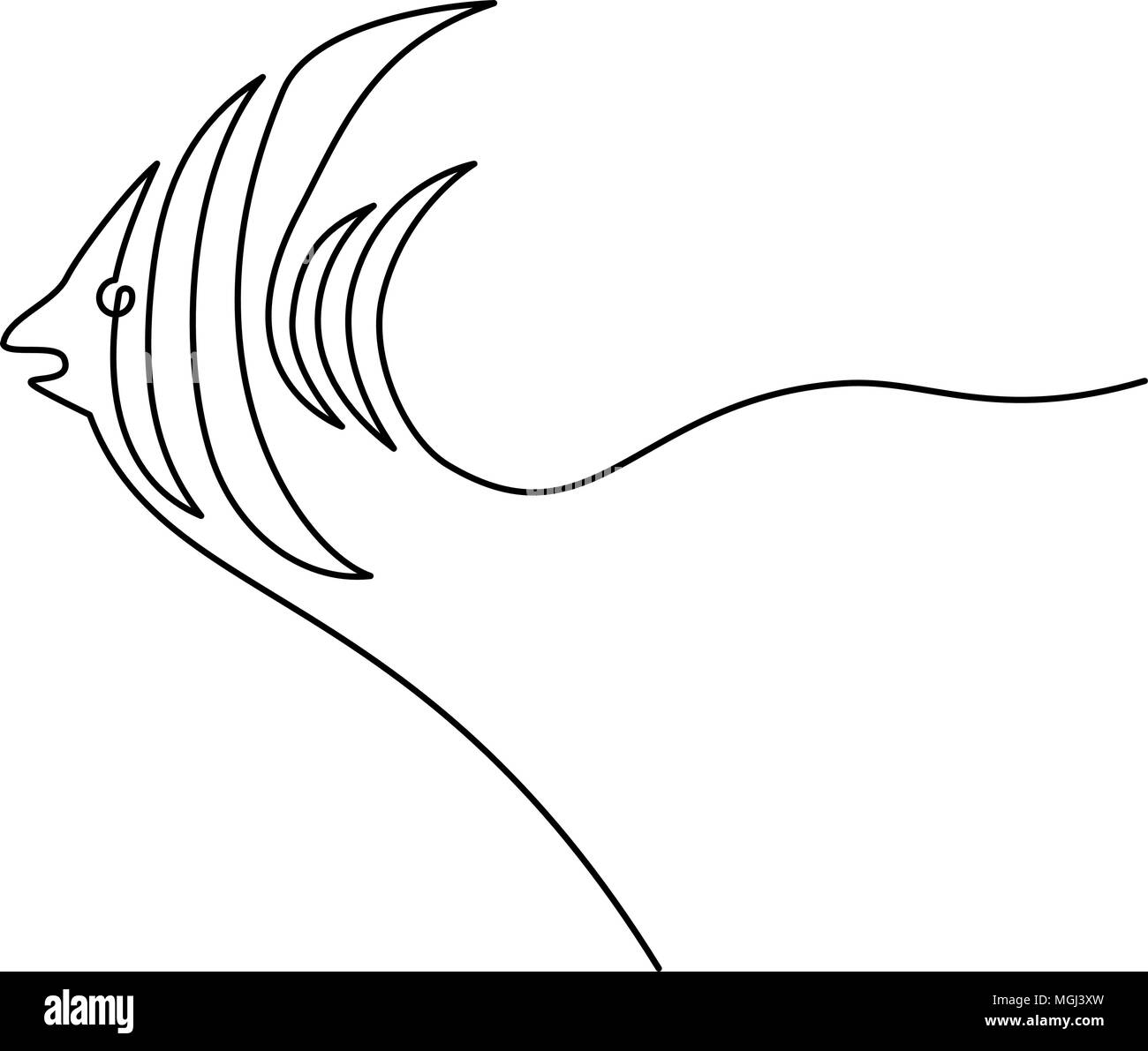 Continuous line fish - Stock Image