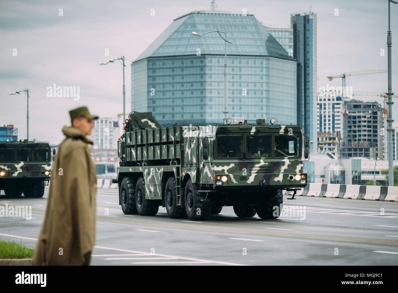 Minsk, Belarus. Soviet Heavy Multiple Rocket Launcher Polonez Moving Near National Library During Rehearsal Before Celebration Of The National Holiday - Stock Image