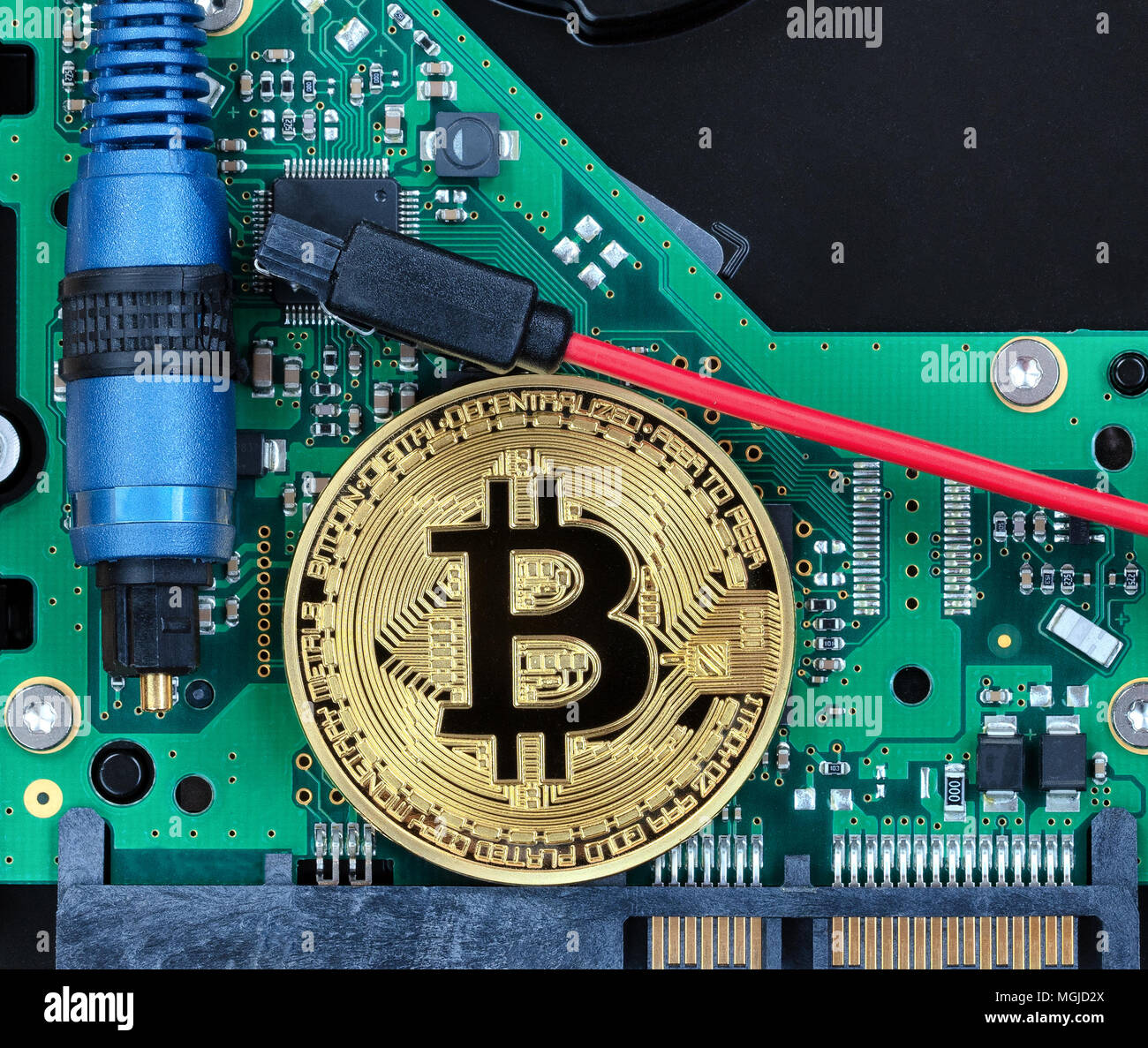Overhead view of future currency with computer technology - Stock Image