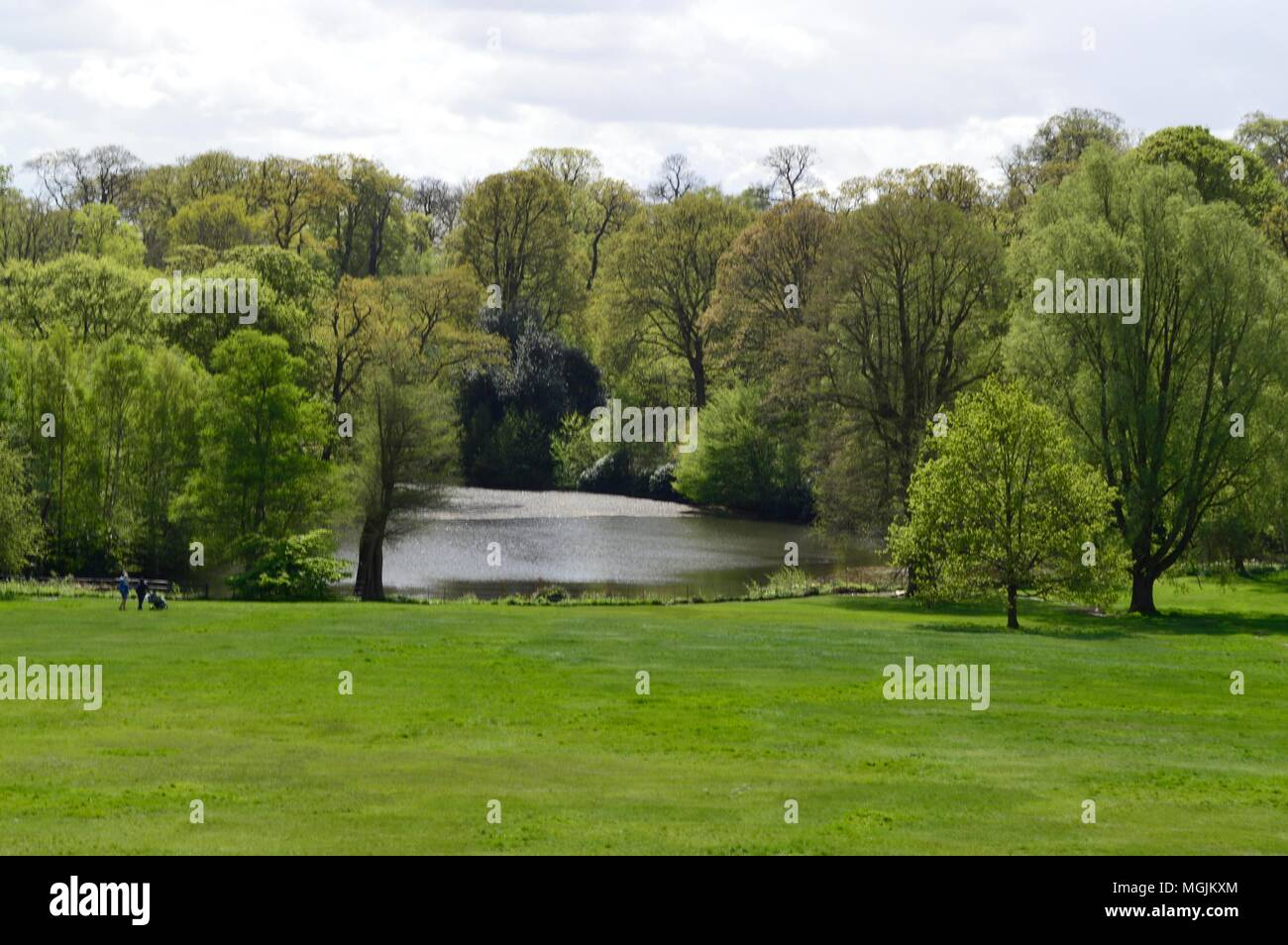 View From Kenwood House and its Lake and Garden on Hampstead Heath London Uk - Stock Image