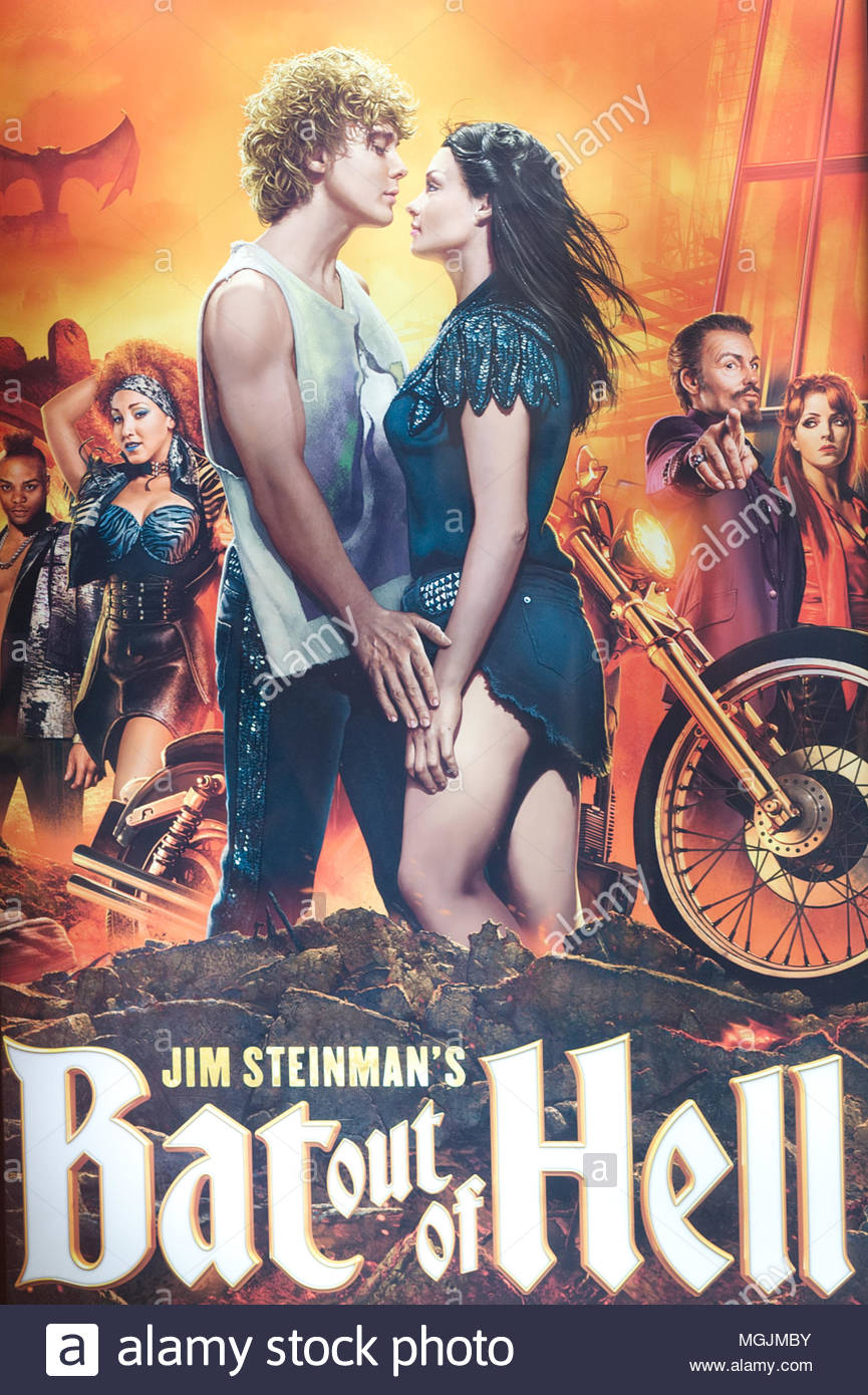 promotional poster for the hit musical Bat out of hell - Stock Image
