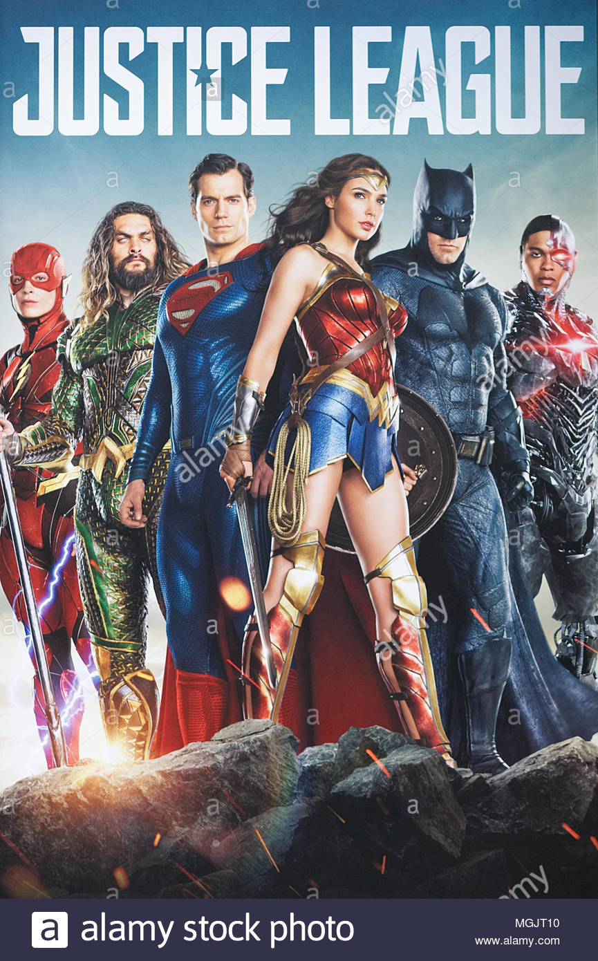 Justice League promotional poster - Stock Image