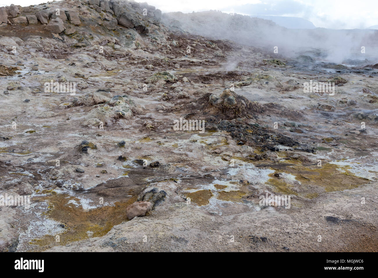 Hverir, rocks and sulfur landscape - Stock Image