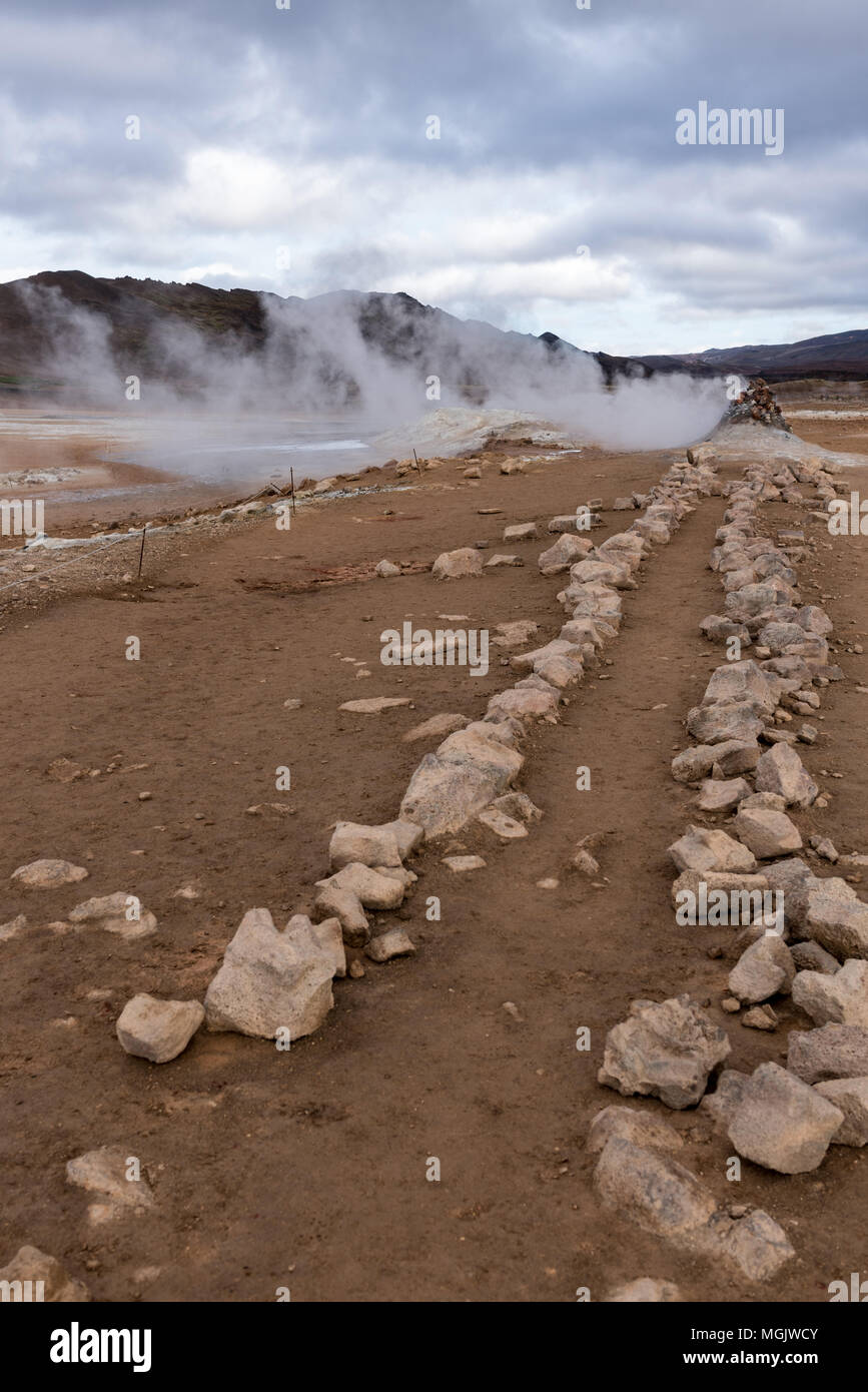 Hverir, stone path to the steam vent Stock Photo