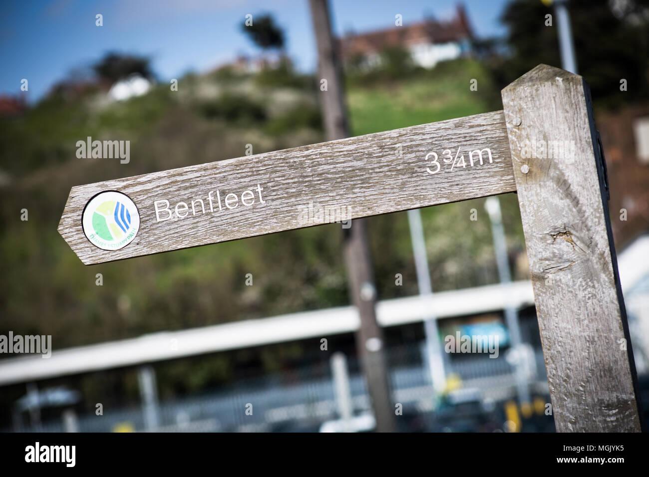 BENFLEET, UK – APRIL 3, 2017: closeup photo of a wooden sign pointing to Benfleet, Essex, UK Stock Photo