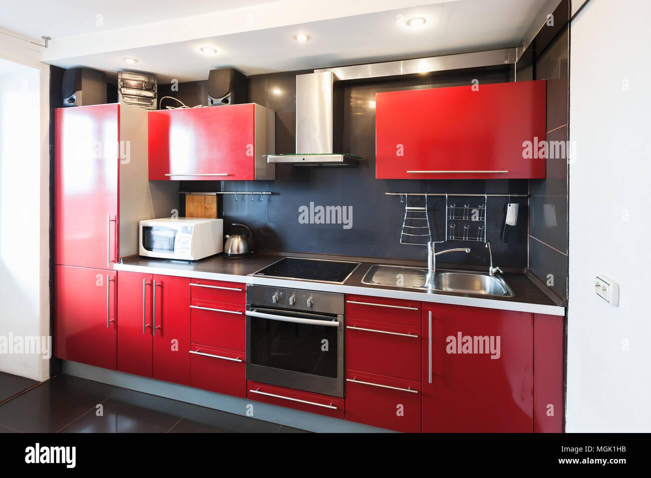 Modern kitchen room interior. Black, red and white design Stock ...