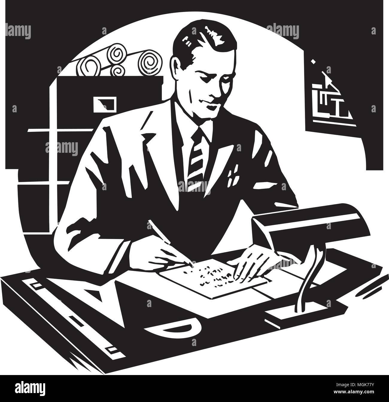 Success With Mathematics - Retro Ad Art Illustration - Stock Image