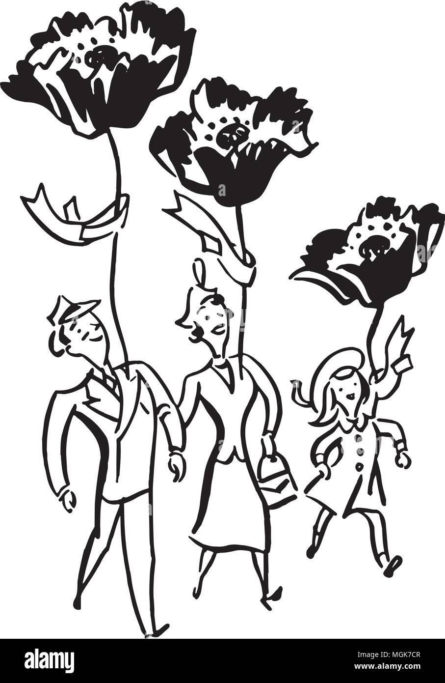 Support Poppy Day - Retro Clipart Illustration - Stock Vector