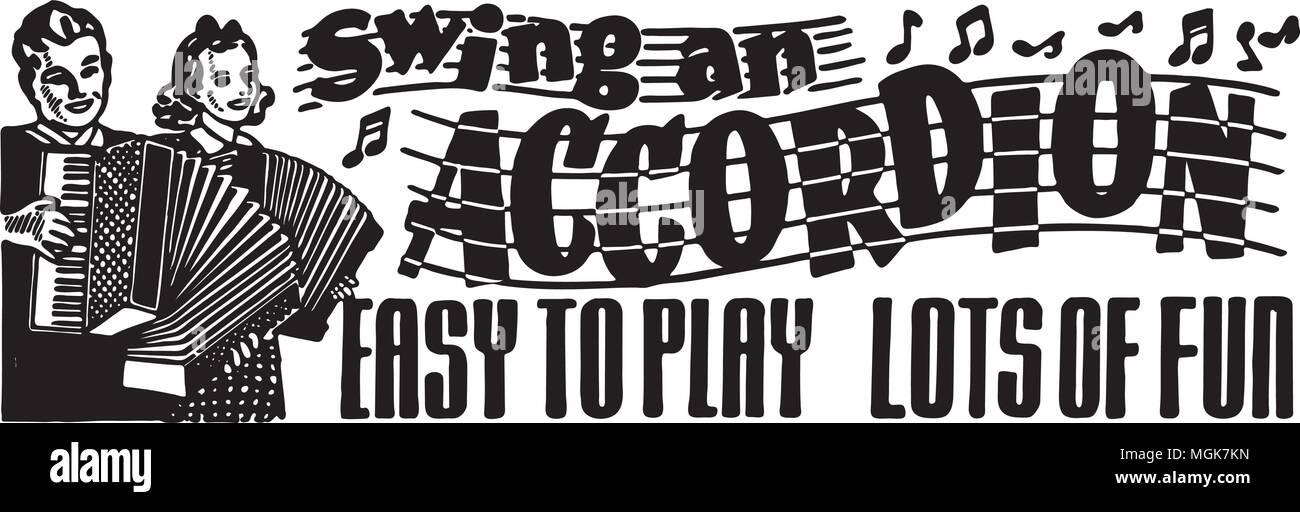 Swing An Accordion - Retro Ad Art Banner - Stock Image