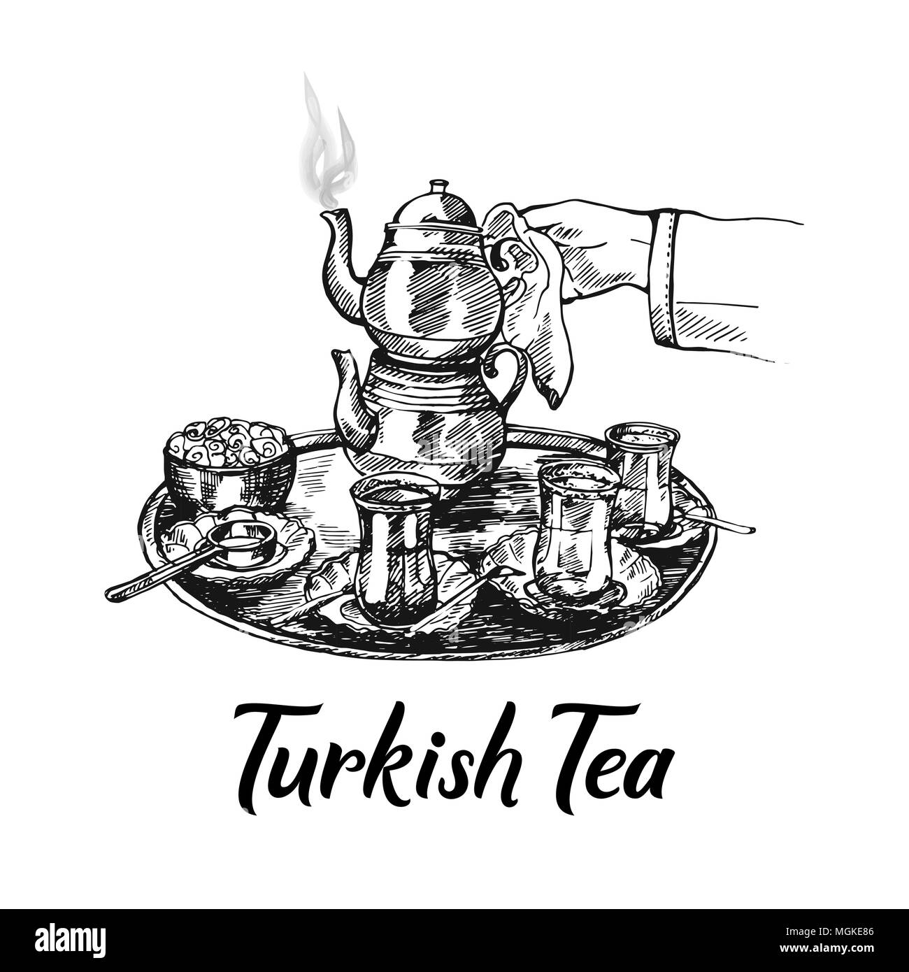 hand drawn sketch style turkish tea set isolated on white background vector illustration stock vector image art alamy https www alamy com hand drawn sketch style turkish tea set isolated on white background vector illustration image182366470 html