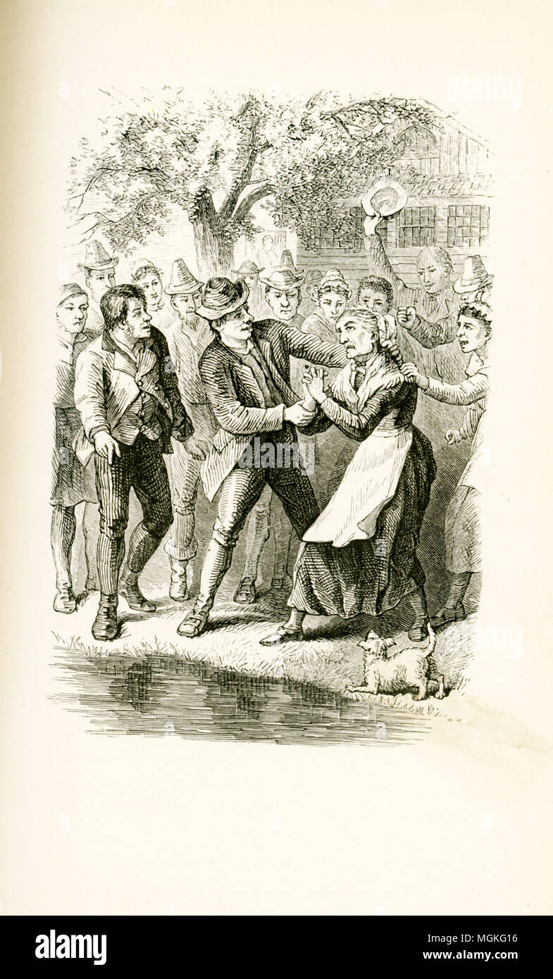 The setting for this illustration that dates to around 1880 is the environs of London, England. Members of a religious group known as Puritans are preparing to leave England for the New World - they will become more commonly known as the Pilgrims, and the Mayflower will be one of their boats. Witchcraft and the condemnation of those thought to be witches are rife. Here a crowd gather about an old woman whom they have accused of being a witch. They then throw her in the pond. Dunking in water was a common practice at the time to test if a person was a witch - if the person floated, the person w - Stock Image