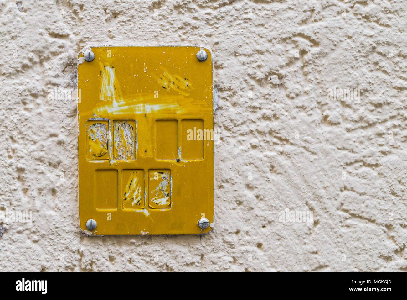 Yellow plastic sign for road fixtures of gas supply systems - Stock Image