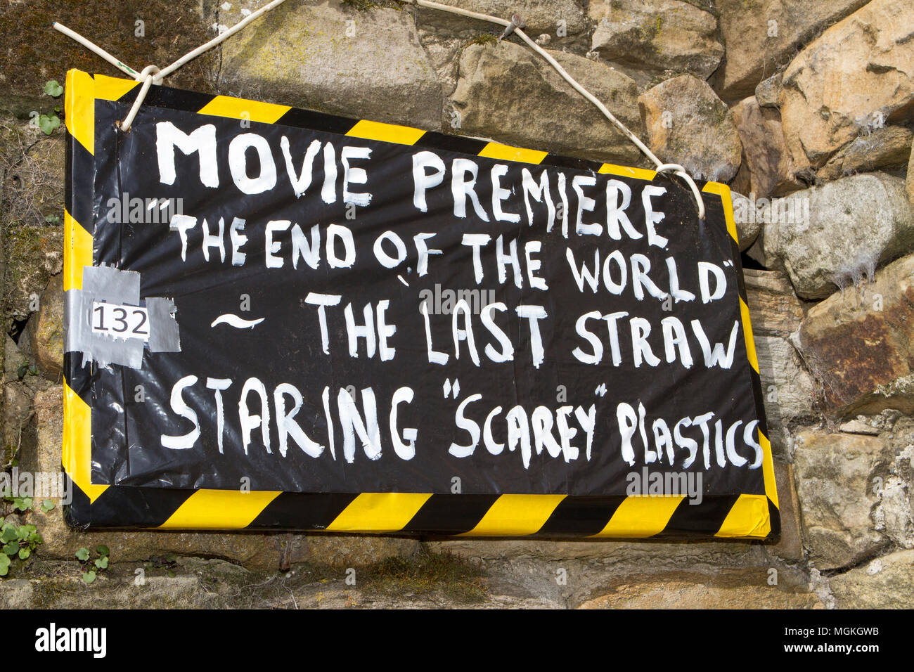 ocean plastic debris as part of the scarecrow festival in Wray, Lancaster, UK. - Stock Image