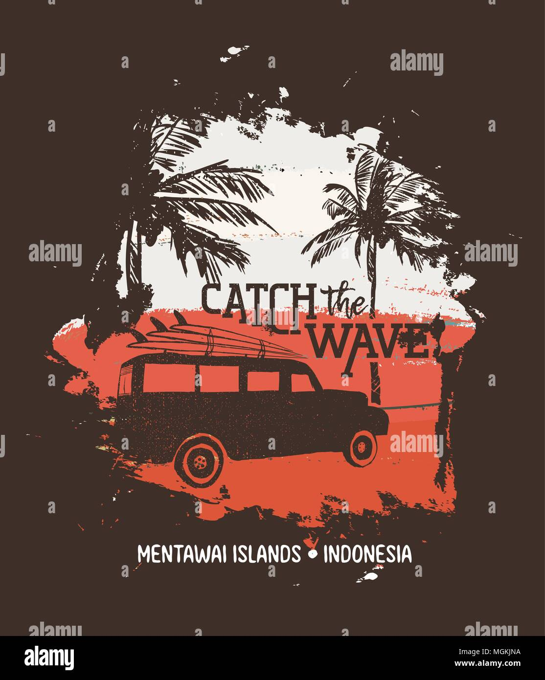 Summer vacation in Mentawai islands, Indonesia. Holiday illustration with  text quote, car and surf boards on tropical beach. Vintage texture design fo