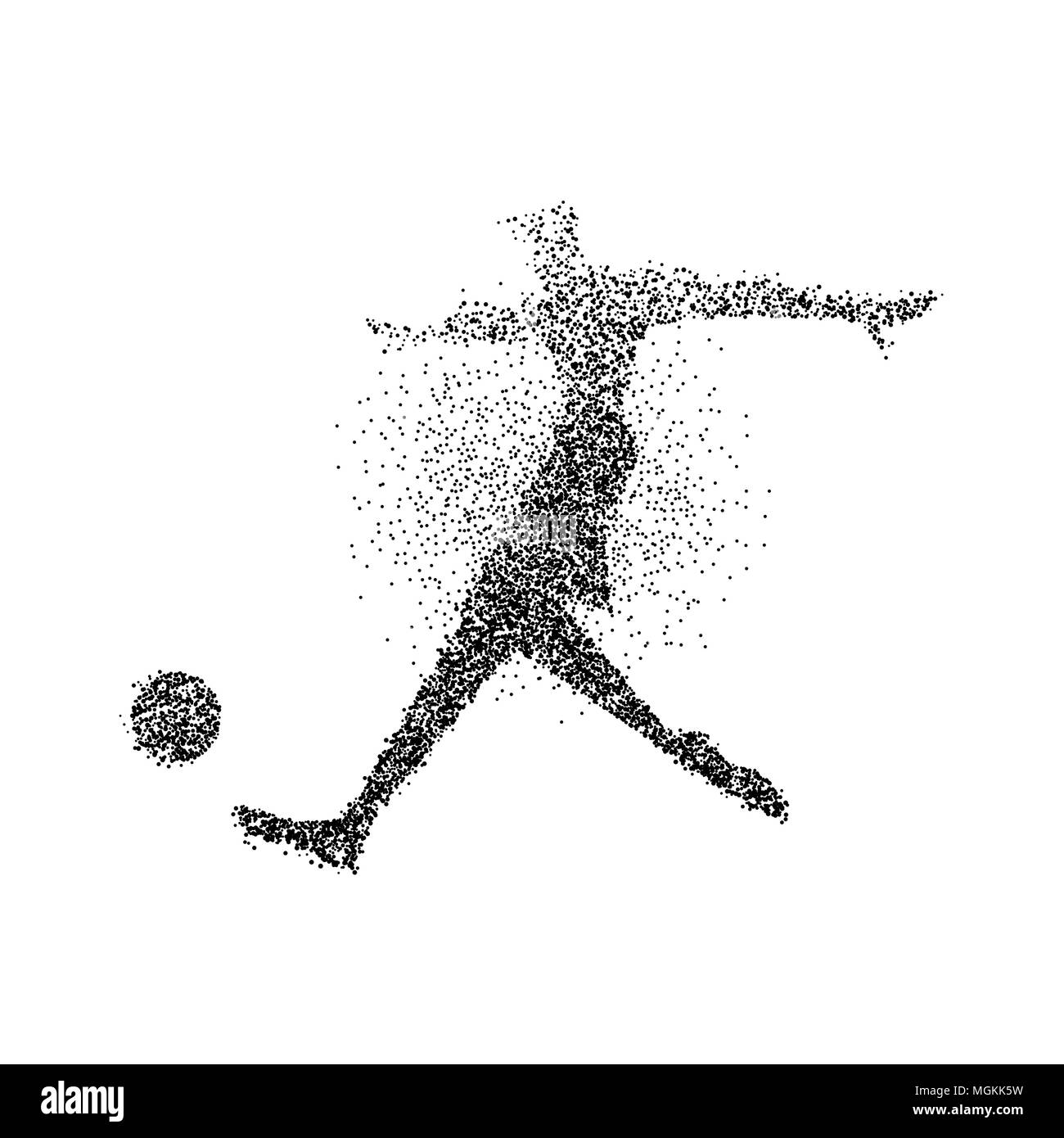 Soccer player silhouette made of black particle splash on isolated background abstract athlete man in motion with ball eps10 vector