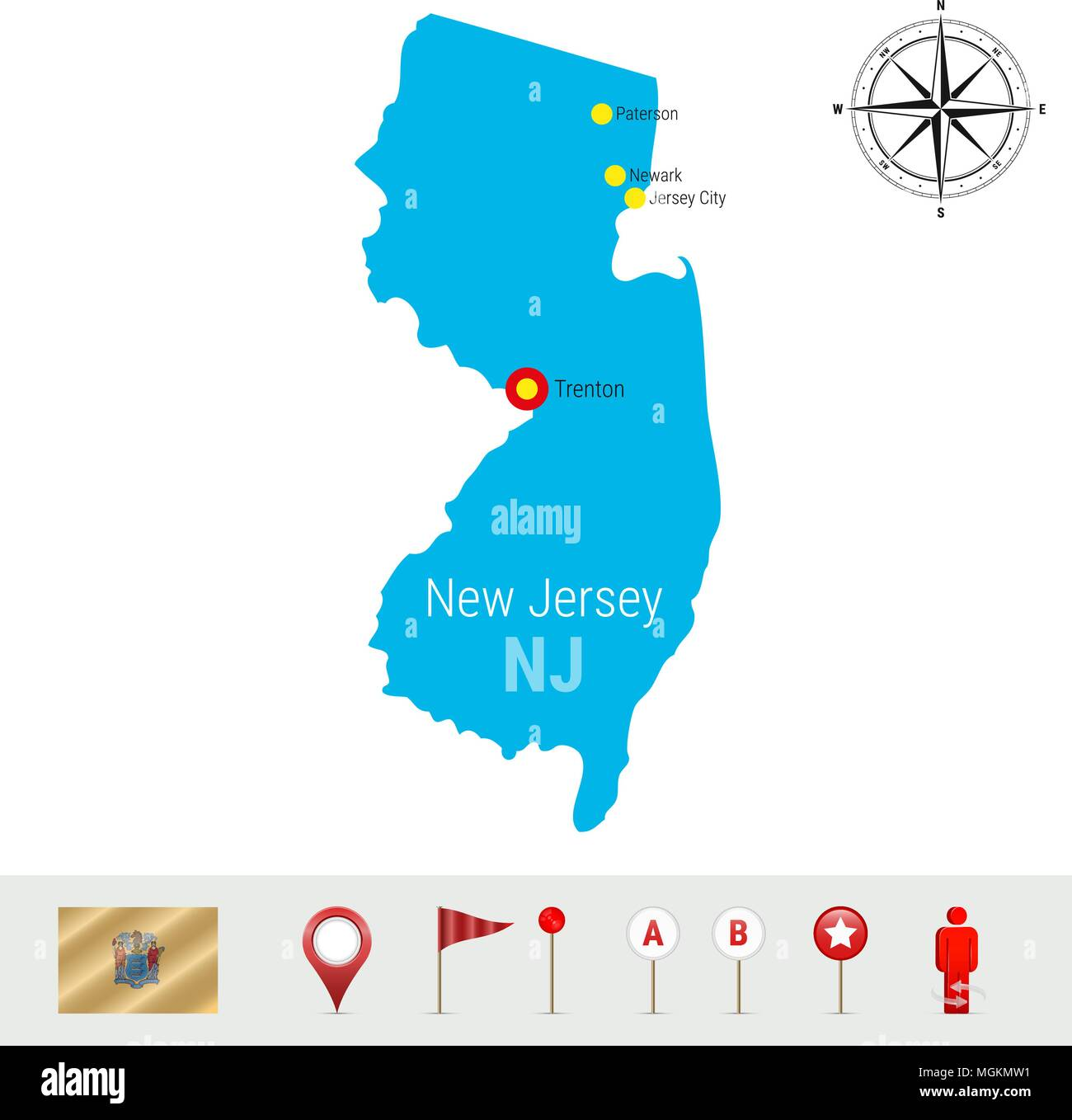 New Jersey Vector Map Isolated on White Background. Detailed ... on