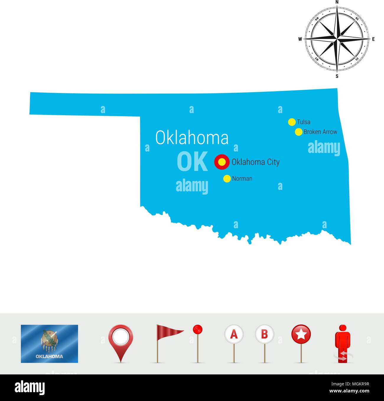 Oklahoma Vector Map Isolated on White Background. High Detailed Silhouette of Oklahoma State. Official Flag of Oklahoma Stock Vector