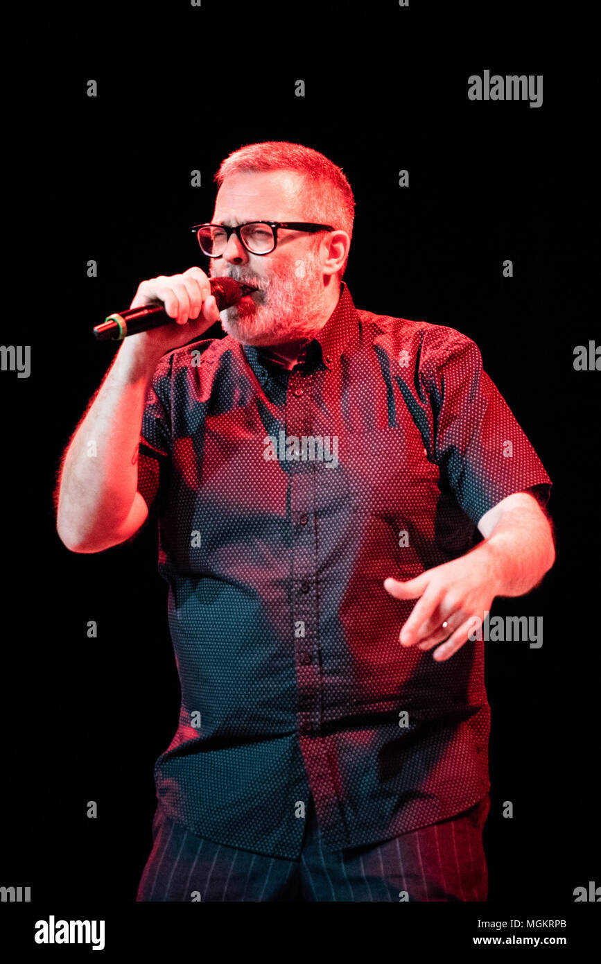 Turin, Italy. 27th Apr, 2018. The Italian rapper and song writer performing live on stage at the Officine Grandi Riparazioni Credit: Alessandro Bosio/Pacific Press/Alamy Live News Stock Photo