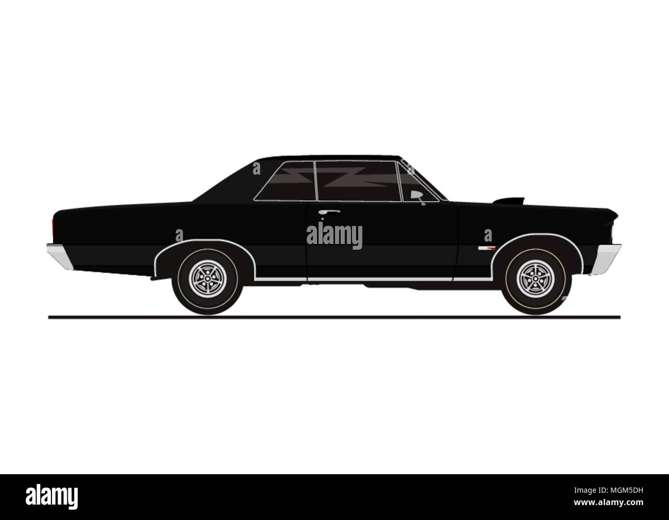 Vector Sticker Of Retro Muscle Car Side View Flat Vector Stock