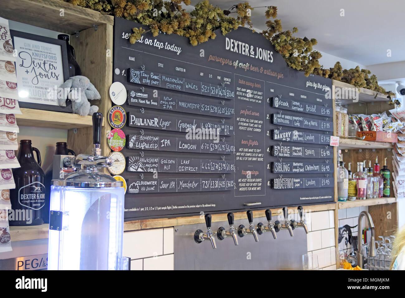 Dexter Jones Knutsford popup craft beer and Gin shop - Stock Image