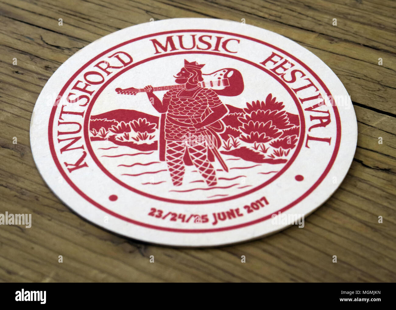 Knutsford Music Festival beermat, Cheshire, GB - Stock Image