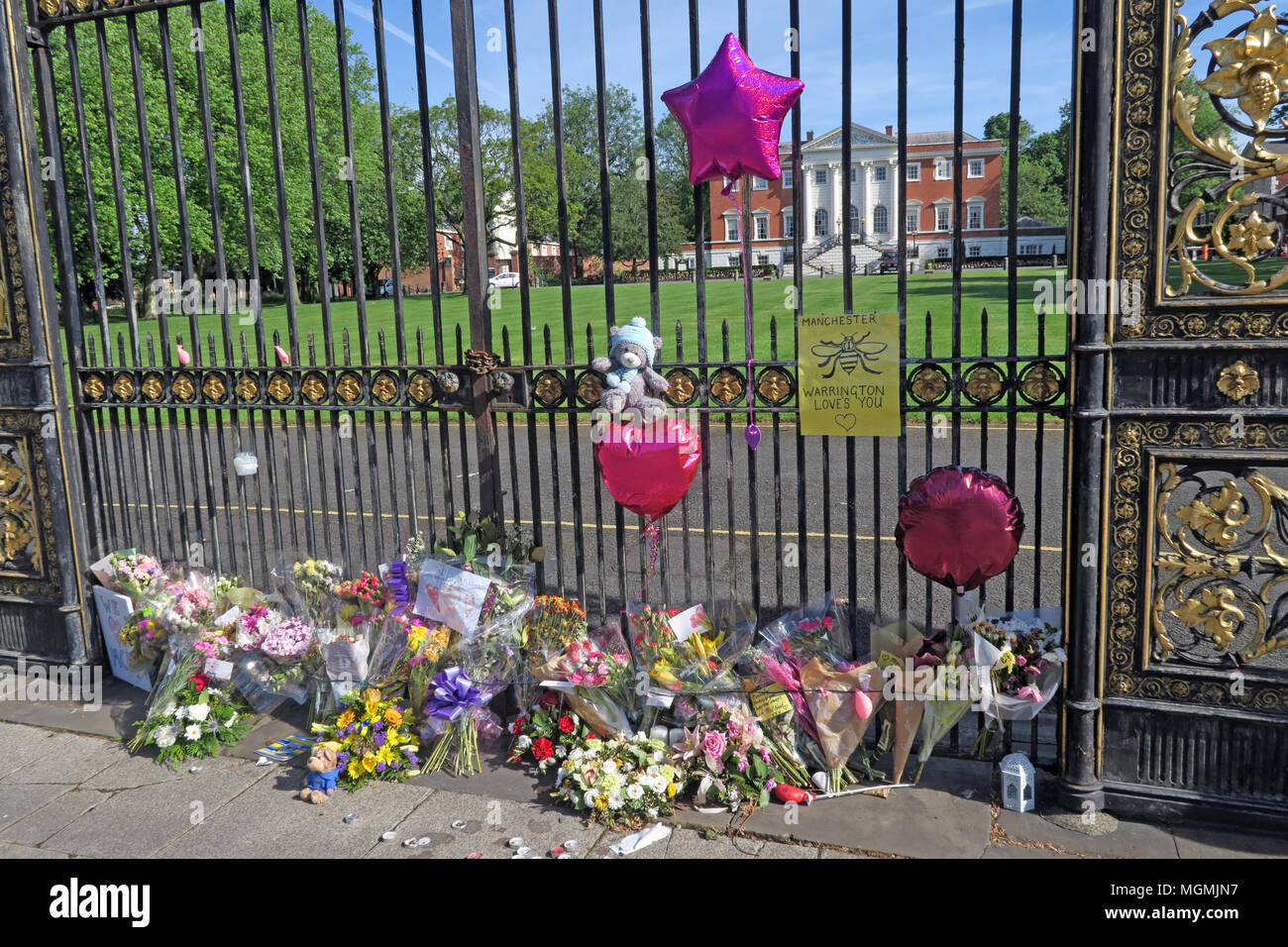 Golden Gates Sankey St Warrington after Manchester Bombing 2017 - Stock Image