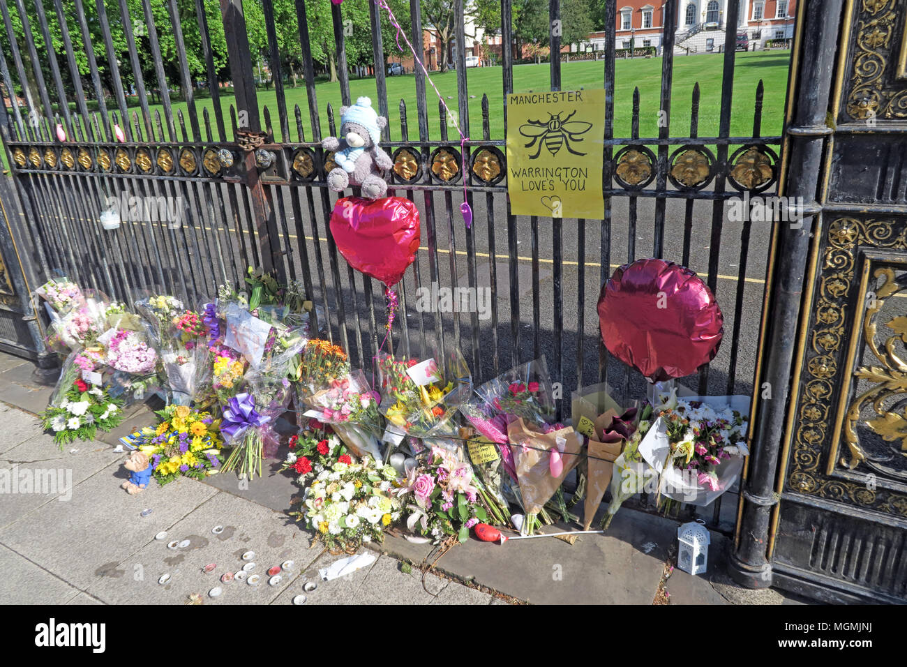 Golden Gates Sankey St Warrington after Manchester Bombing 2017 Stock Photo