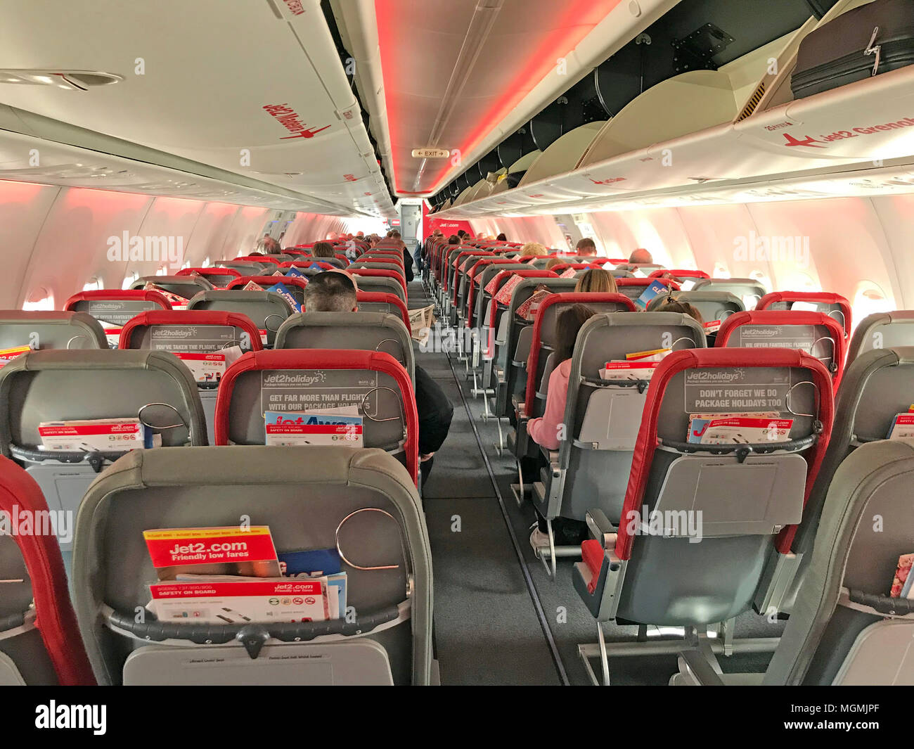 Interior of Jet2 Boeing 737 Cabin - Stock Image