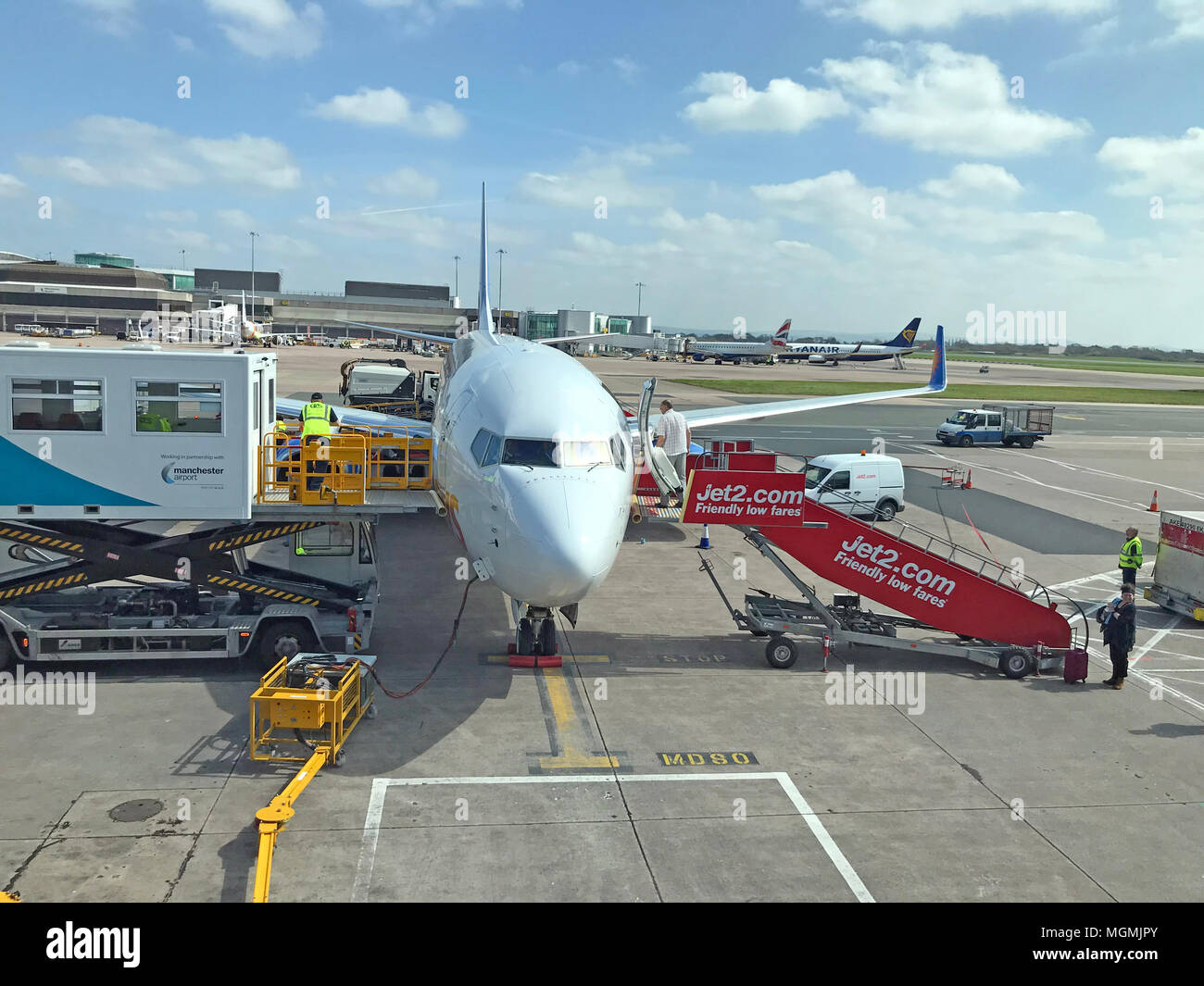 Jet2 Aircraft at Manchester Airport - Stock Image