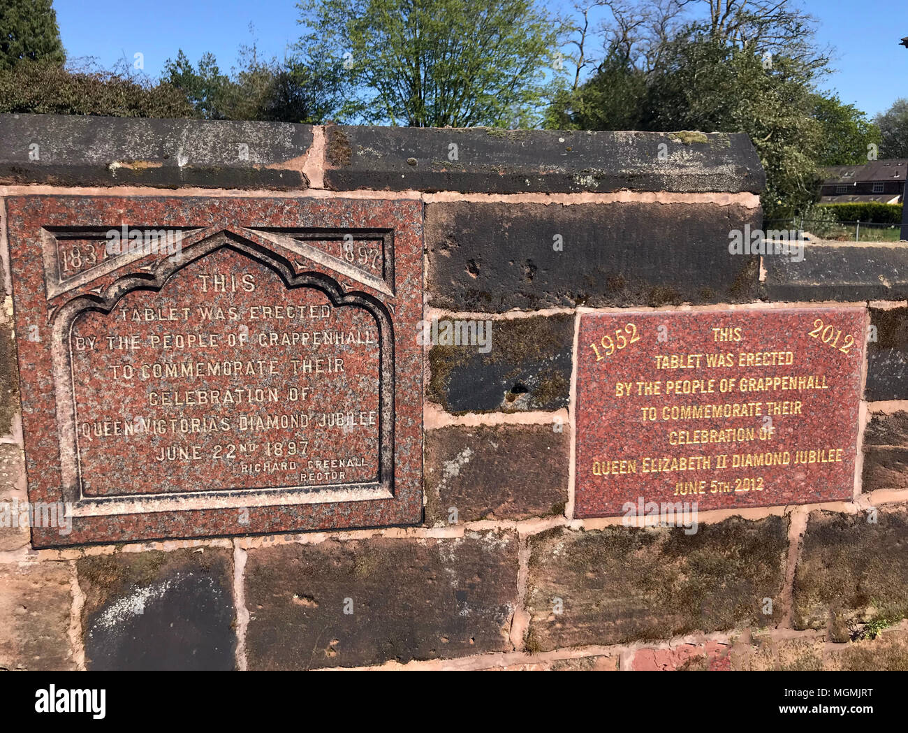 Grappenhall Diamond Jubilee Queen Plaques - Stock Image