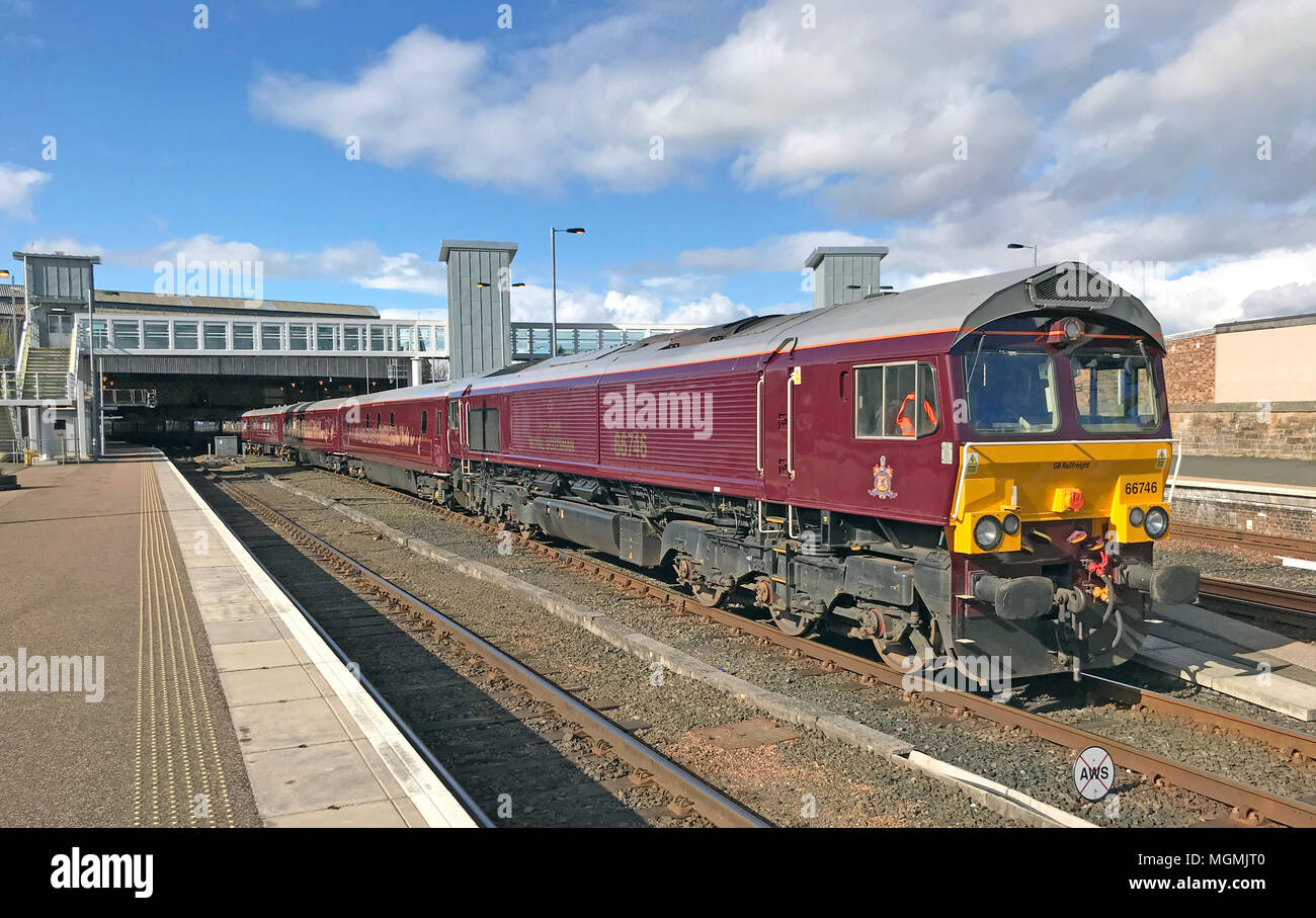 Royal Scot Engine 66746 at Perth Station - Stock Image