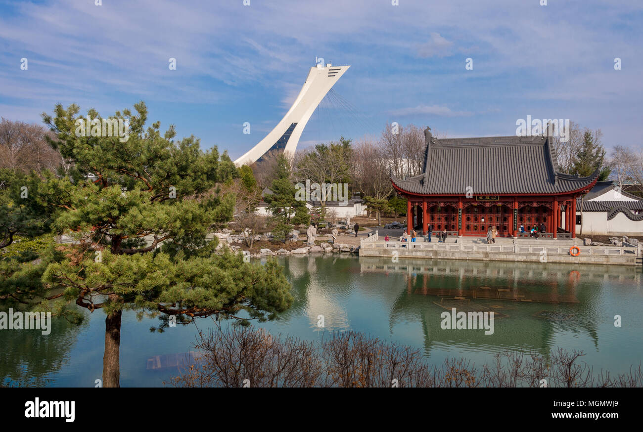 montreal ca 28 april 2018 chinese garden of the montreal botanical garden with olympic stadium tower in background - Montreal Botanical Garden